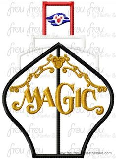 Dis Cruise Ship Full Color Front Magik Machine Applique Embroidery Designs, Multiple sizes including 4 inch, $3.75