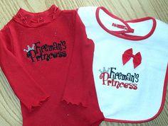 Baby Girl Gift Set - Fireman's Princess  Red Long Sleeve Onesie and Bib