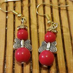 Red beaded angel earrings guardian angel dangle earrings red