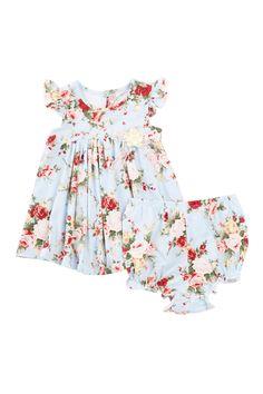 Pippa & Julie | Flower Print Dress & Bloomer 2-Piece Set (Baby Girls) | Nordstrom Rack