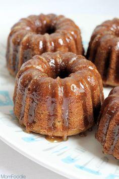 Baby Banana Bundt Cakes w/ Vanilla Caramel Glaze