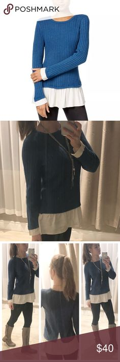 """Blue two-fer sweater It looks like two pieces but in this top you get the layered look without the bulk. New and new without tags available. ▪️Material: 70% acrylic 27% nylon 3% spandex ▪️Bust Across: S- 22"""" ▪️Length: 24"""" ▪️Reference: I'm 5ft 7in tall, 125lbs ▪️Sorry, no trades or holds  Price firm, save 20% on bundles of 3 or more items. Kensie Sweaters"""