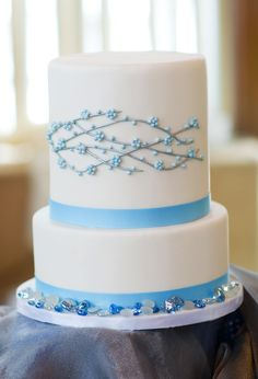 Delicate powder blue flowers on white fondant. Birch Hill Events #NY #Wedding #Albany