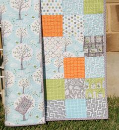 Backyard Baby Boy Quilt Patchwork Trees Gray by SunnysideDesigns2