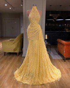Yellow Evening Dresses, Evening Dress Long, Yellow Gown, Yellow Formal Dress, Gold Evening Gowns, Formal Romper, Glamorous Evening Dresses, Designer Evening Gowns, Afternoon Dresses