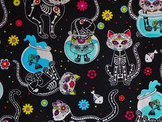 Tela FQ :: day of the dead Kitty :: de nosgustanlosretros por DaWanda.com