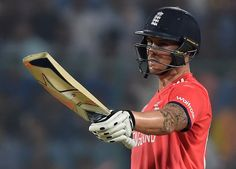 England's Jason Roy celebrates after scoring a half-century (50 runs)during the World T20 cricket tournament first semi-final match between England and New Zealand at Feroz Shah Kotla cricket ground in New Delhi on March 30, 2016.