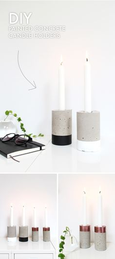 Informations About (notitle) Pin You can easily u Concrete Candle Holders, Diy Candle Holders, Concrete Crafts, Concrete Projects, Diy Candles Video, Diy Candles Ingredients, Beton Design, Diy Interior, Diy On A Budget