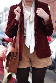 https://flic.kr/p/9oAXVE | calivintage: suede and corduroy | blazer: vintage corduroy oscar de la renta blazer blouse: asos pussybow blouse shorts: suede shorts from modcloth tights: tabio 110 denier tights shoes: kork ease bette wedges bag: cambridge satchel from modcloth  calivintage.com