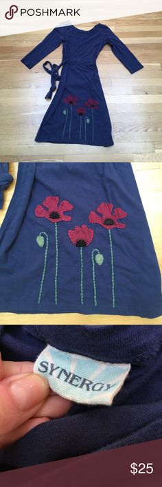 Blue Organic Cotton Embroidered Dress Small Lovely soft organic cotton blue dress with red embroidered flowers on the skirt. Tie sash. Excellent pre-owned condition. Size small, fits true to size though an XS would probably be fine too. ModCloth Dresses Long Sleeve