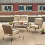 Hampton Bay Pin Oak 4-Piece Wicker Patio Conversation Set with Oatmeal Cushions