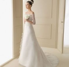 Simple, refined and elegant!  Lace Wedding Dress A-line Off-the-shoulder Wedding Dress Satin and Lace with Sleeves