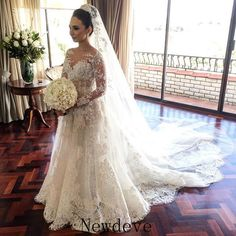 Stunning Pearls Detachable Train Brides Wedding Dress Long Sleeve Sheath Custom