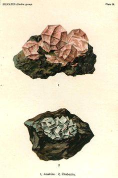 Natrolite Stilbite Crystal Stone Mineral Vintage Lithograph Edwardian Geology Print To Frame 37