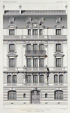 Elevation of a residential building on Avenue Friedland, Paris