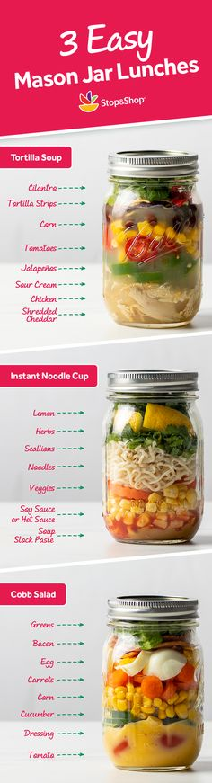 Save time and money by planning ahead with lunches in mason jars from Stop & Shop! Mason Jar Lunch, Mason Jar Meals, Meals In A Jar, Mason Jars, Lunch Recipes, Real Food Recipes, Vegetarian Recipes, Cooking Recipes, Yummy Food