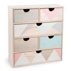 ANJA wooden box with 6 drawers H 34cm