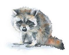 Raccoon Original Watercolor Painting 9x12 Nursery Fine Art