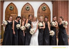 Fun Bridal Party Photos.  Black Bridesmaid Dresses. Roses, Succulents, and Scabiosa Flowers.   Flowers by http://freshcutcateringandfloral.com/ photo by www.adamplusalli.com