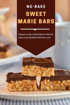 Sweet Marie Bars Recipe - My Island Bistro Kitchen Rice Krispie Treats, Rice Krispies, Baking Recipes, Cookie Recipes, Gf Recipes, No Bake Desserts, Dessert Recipes, Yummy Treats, Sweet Treats