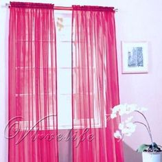 Hot pink sheer curtain panels