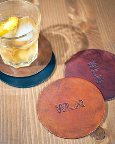 Custom Leather Coasters-3rd wedding anniversary gift (add to gift basket with rocks glasses and a bottle of whiskey)