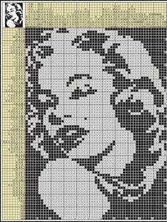 Bead Loom Patterns, Cross Stitch Patterns, Crochet Patterns, Plastic Canvas Crafts, Plastic Canvas Patterns, Marylin Monroe, Fuse Beads, Loom Beading, Pixel Art