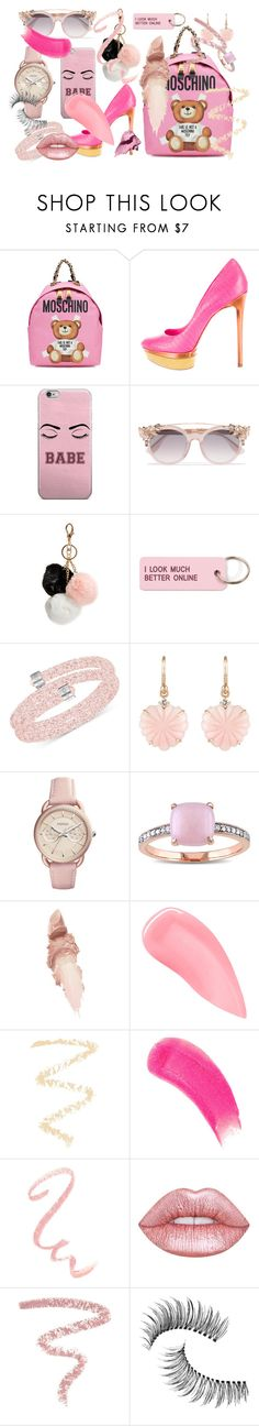 """""""pink"""" by pippy-casco-depauli on Polyvore featuring moda, Moschino, B Brian Atwood, Jimmy Choo, GUESS, Various Projects, Swarovski, Irene Neuwirth, FOSSIL y Miadora"""