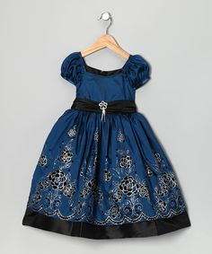 Take a look at this Teal & Black Floral Dress - Toddler & Girls by Cinderella Couture on #zulily today!
