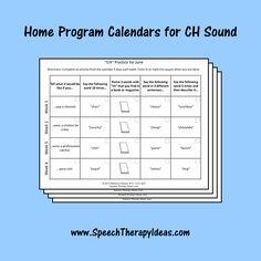 """Home Program Calendars for """"CH"""" Sound"""