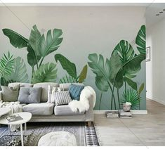 Wall Painting Decor, Mural Wall Art, Wall Decor, Room Decor, Plant Wallpaper, Wall Wallpaper, Rainforest Plants, Bedroom Furniture Sets, Bedroom Sets