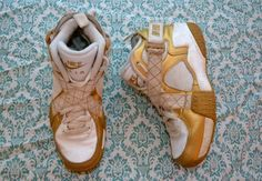 90s NIKE Air Raid Gold Speckled White High Top by hannahisawful