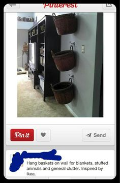 Kids room or family room organization ideas. hang baskets on wall for blankets. remotes, odds and ends, etc. Creative Toy Storage, Creative Decor, Home Daycare, Playroom Organization, Toy Rooms, Kids Rooms, Baskets On Wall, Hanging Baskets, Decorating Your Home