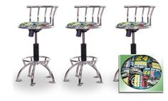 """3 24""""-29"""" Jeff Gordon Nascar #3 24""""-29""""4 Seat Chrome Adjustable Specialty / Custom Barstools Set by The Furniture Cove. $292.88. Black Metal Finish. Swivel Seat. 24"""" to 29"""" Adjustable Seat Height. Custom Upholstery. Back Rest and Foot Rest. These have a fitting appearance for a wide variety of places. They look and feel great, feature a custom upholstered seat, and are impressively versatile. The frame is made of metal making it a strong, heavy duty stool. The cushion..."""