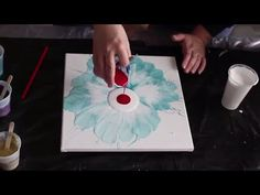 How to Blow a Flower with Acrylic Fluid Paint - YouTube
