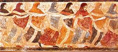 Etruscan tomb fresco: Only free, equal and literate females of the ancient world; the Etruscan women doing Lydian mode Viterbo, Tuscany Carthage, Ancient Rome, Ancient Art, Dance Definition, Roman Names, Art Ancien, Tribal Dance, Minoan, Prehistoric