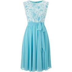 Precis Petite Lace Top Soft Prom Dress ($180) ❤ liked on Polyvore featuring dresses, petite, women, lace cocktail dress, party dresses, blue lace dress, petite dresses и lace dress
