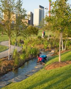Railroad Park, Birmingham, Alabama. Landscape architect Tom Leader oversaw the $17.5M public-private conversion of an old warehouse and brick-making facility into 19 acres of grass, foliage, walking paths, ponds, a skate park, and plazas. Click for the full story and visit the Slow Ottawa 'Streets for Everyone' board for more sustainable urban innovations.
