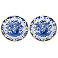 A Pair of Antique Blue and White Dutch Delft Chargers