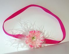 Shabby Chic Flower, Feather And Flower, Stretch FOE Elastic Headband, Pink, Girl Gift, Woman Gift, Dress Up, Romantic Headband, Ship Today