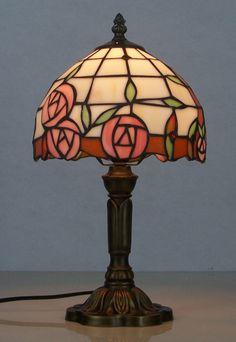 Tiffany bedroom decoration  table lamp living room rustic rose multicolour glass table lamp D200*H360MM  free shipping