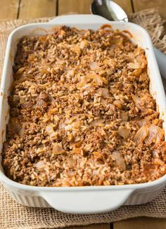 This Cabbage Roll Casserole recipe is easy to make and delicious to eat. Enjoy the simple flavours of cabbage rolls without all the fuss! Loaded Baked Potato Casserole, Cabbage Roll Casserole, Ground Beef Casserole, Hamburger Casserole, Cabbage Soup, Sweet Potato Pecan, Sweet Potato Chili, Thanksgiving Casserole, Thanksgiving Recipes