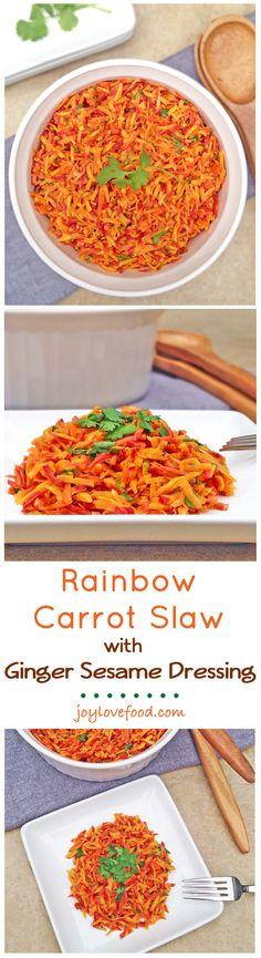 Rainbow Carrot Slaw with Ginger Sesame Dressing