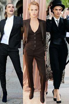 Tomboy Fashion, Suit Fashion, Look Fashion, Trendy Fashion, Fashion Outfits, Delevigne Cara, Cara Delevingne Style, Classy Outfits, Casual Outfits