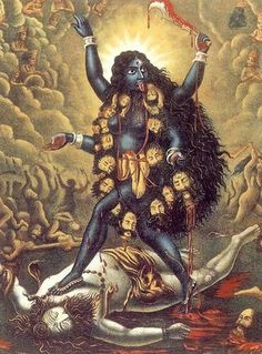 KALI-MA Kali is the divine qutub; erect upon the inert corpse of Shiva, She generates the impulse of life, of the manifest moment; Kali Goddess, Black Goddess, Mother Goddess, Mother Kali, Divine Mother, Mother India, Indian Gods, Indian Art, Indian Blue
