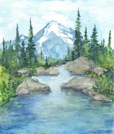 watercolor river in fall - Google Search