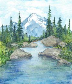 watercolor river in fall - Google Search