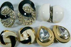 Retro Modern Lot of 4 Gold Silver Tone Metal Enamel Fashion Clip on Earrings | eBay