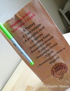 What a cute idea!  Print a Thanksgiving Scavenger Hunt right on a paper bag.  Then, take the kids outside for some autumn fun!
