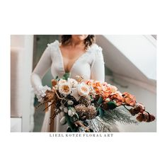 Autumn bridal bouquet @liezlkotze_floralart Bridal Bouquet Fall, Wedding Flowers, Autumn, Table Decorations, Home Decor, Decoration Home, Fall Season, Room Decor, Fall